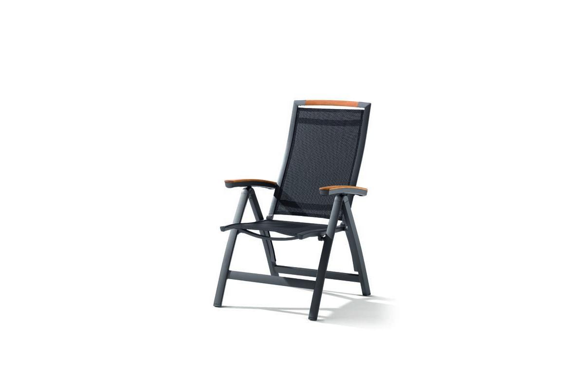 Grand fauteuil salon de jardin inclinable aluminium/Teck certifié Catena - Sieger Exclusiv