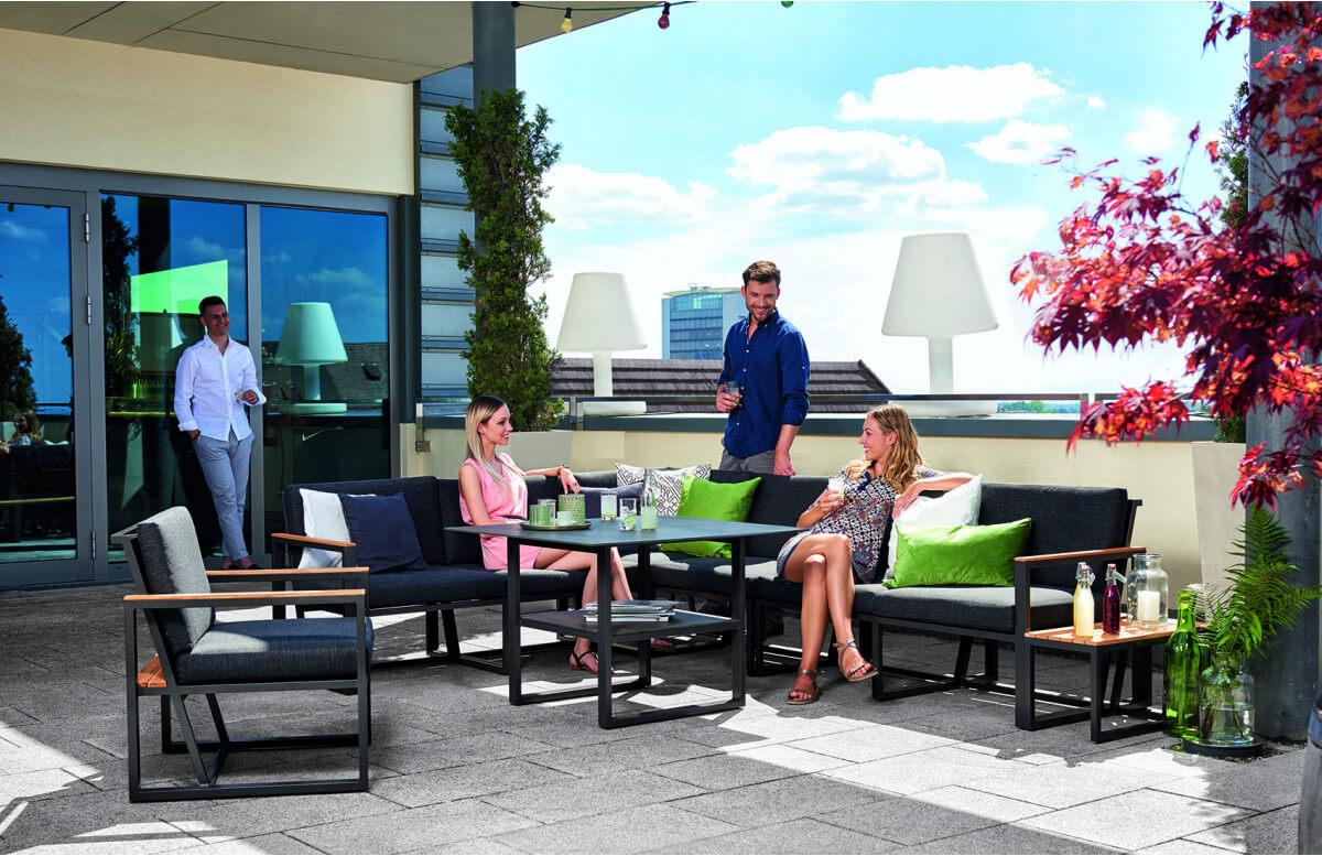Salon de jardin bas pliant aluminium/Sunproof 7 personnes Havanna - Sieger Exclusiv Passion