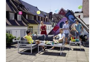 Salon de jardin bas pliant aluminium/Sunproof 5 personnes Melbourne - Sieger Exclusiv Passion