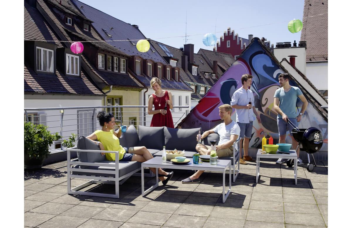 Salon de jardin bas aluminium/Sunproof 5 personnes Melbourne - Sieger Exclusiv Passion