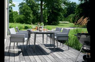 Ensemble table et fauteuils et fauteuils pliants de jardin pliant aluminium/Sunproof 4 personnes Morena - Sieger Exclusiv