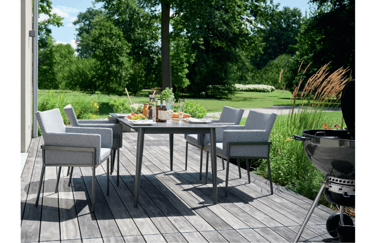 Ensemble table et fauteuils de jardin aluminium/Sunproof 4 personnes Morena - Sieger Exclusiv