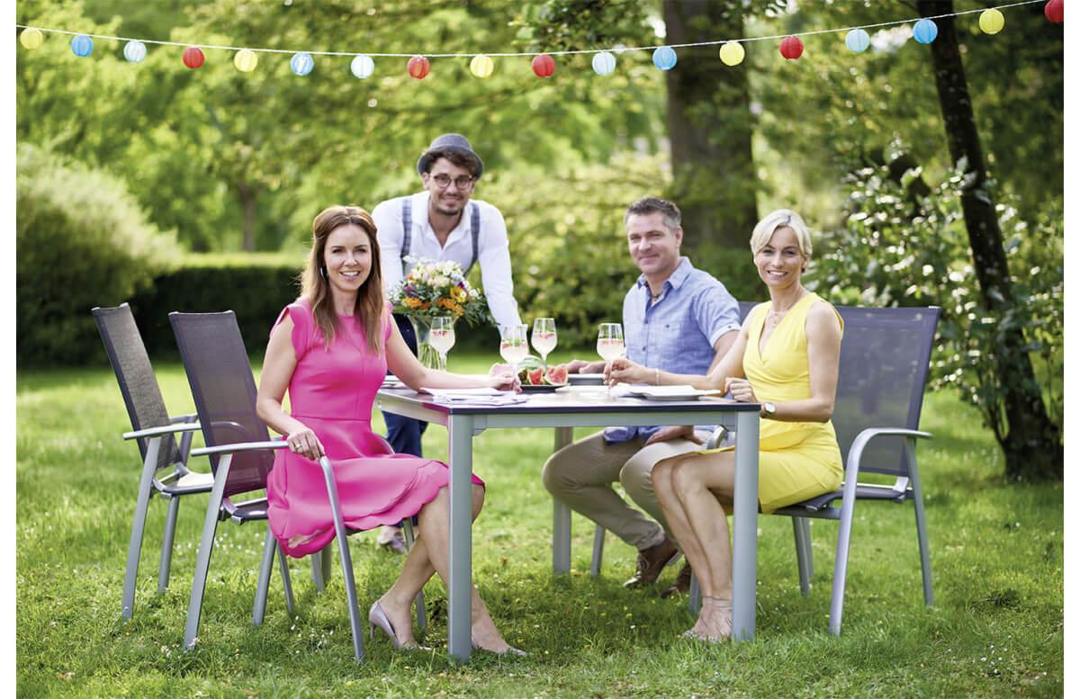 Ensemble table et fauteuils de jardin pliant aluminium/Textilux 4 personnes Padua - Sieger Exclusiv