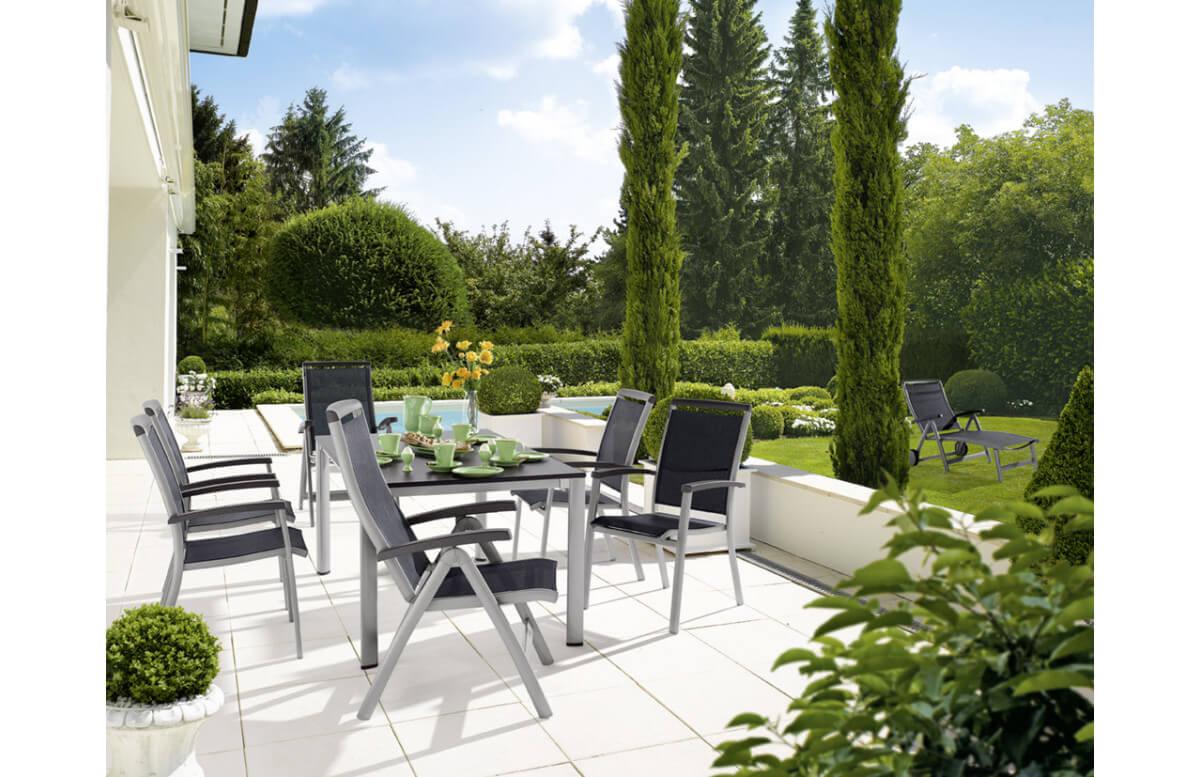 Ensemble table et fauteuils de jardin pliant aluminium/Textilux 6 personnes Royal - Sieger Exclusiv