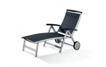 Bain de soleil design inclinable aluminium/Textilux Royal - Sieger Exclusiv