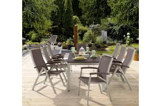 Ensemble table et fauteuils de jardin extensible aluminium/Textilux 8 personnes Royal - Sieger Exclusiv