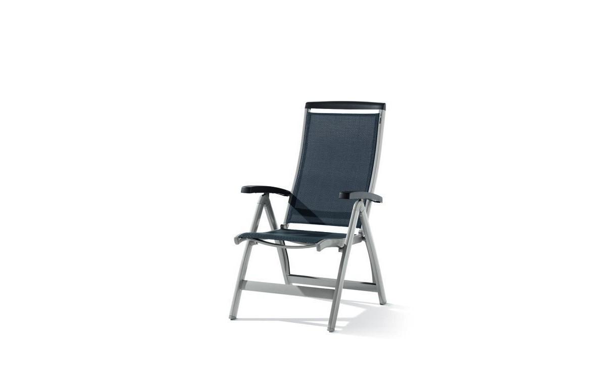 Grand fauteuil salon de jardin inclinable aluminium/Textilux Royal - Sieger Exclusiv