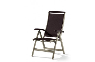 Grand fauteuil salon de jardin inclinable aluminium/Textilux Royal - Sieger Exclusiv