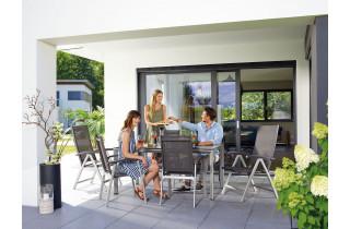 Ensemble table et fauteuils de jardin pliant aluminium/Textilux 6 personnes Salerno - Sieger Exclusiv