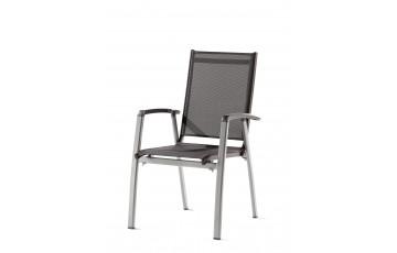 Fauteuil salon de jardin pliant aluminium/Textilux Salerno - Sieger Exclusiv