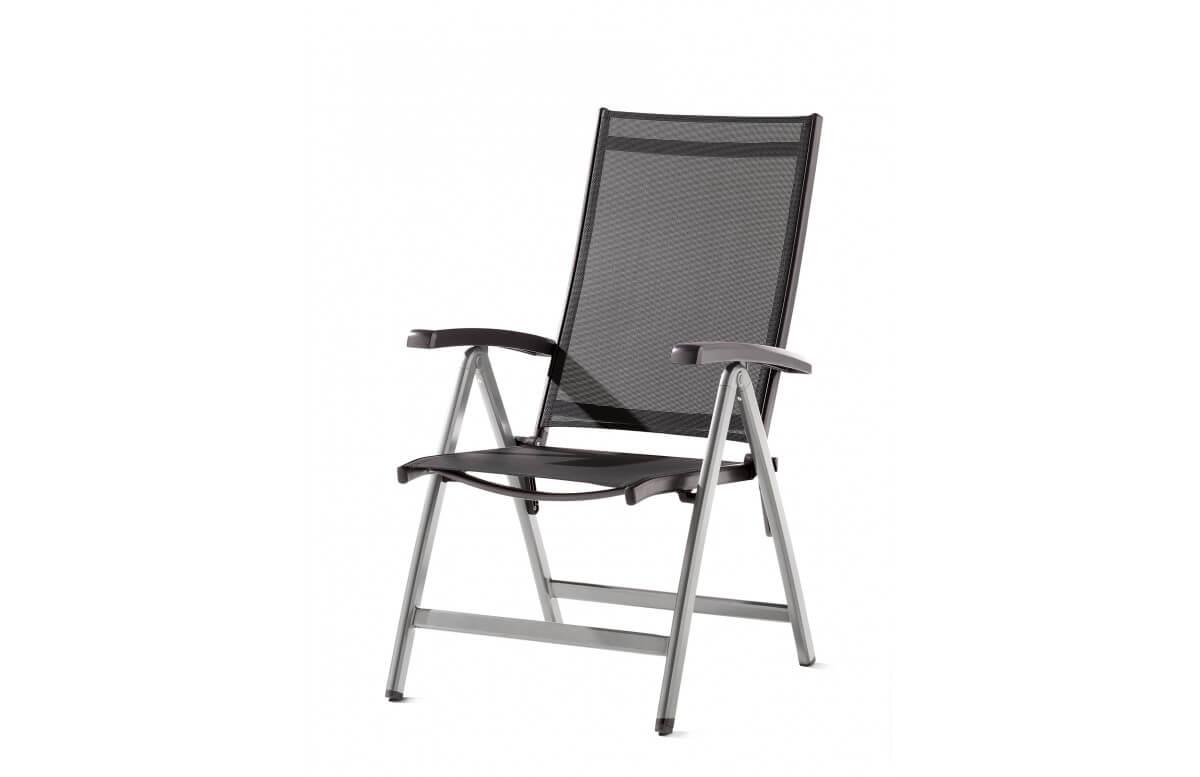 Grand fauteuil salon de jardin inclinable aluminium/Textilux Salerno - Sieger Exclusiv