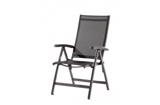 Grand fauteuil salon de jardin inclinable aluminium/Textilux Salerno - Sieger Exclusiv