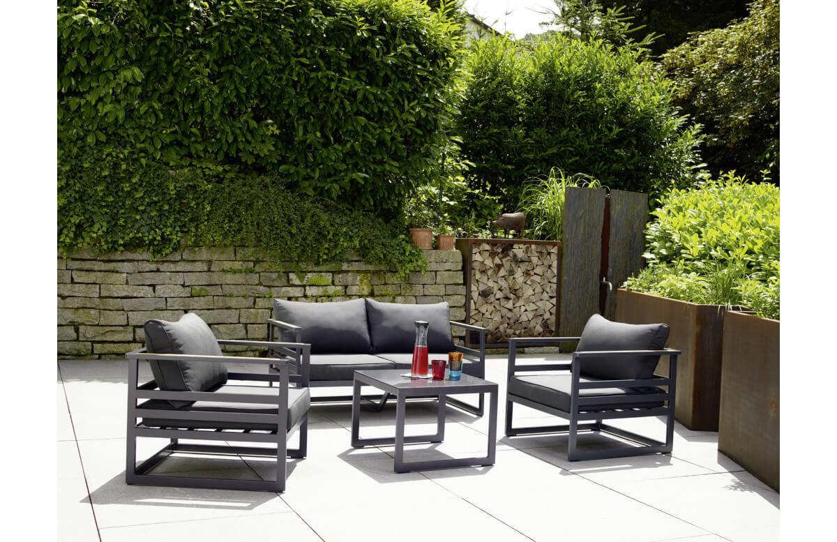 Salon de jardin bas pliant aluminium/Sunproof 4 personnes Sydney - Sieger Exclusiv Passion