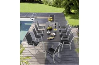 Ensemble table et fauteuils de jardin extensible aluminium/Textilux 10 personnes Trento - Sieger Exclusiv