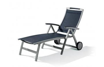 Bain de soleil design inclinable aluminium/Textilux Trento - Sieger Exclusiv