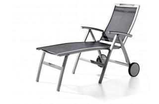 Bain de soleil luxe design inclinable aluminium/Textilux Trento - Sieger Exclusiv