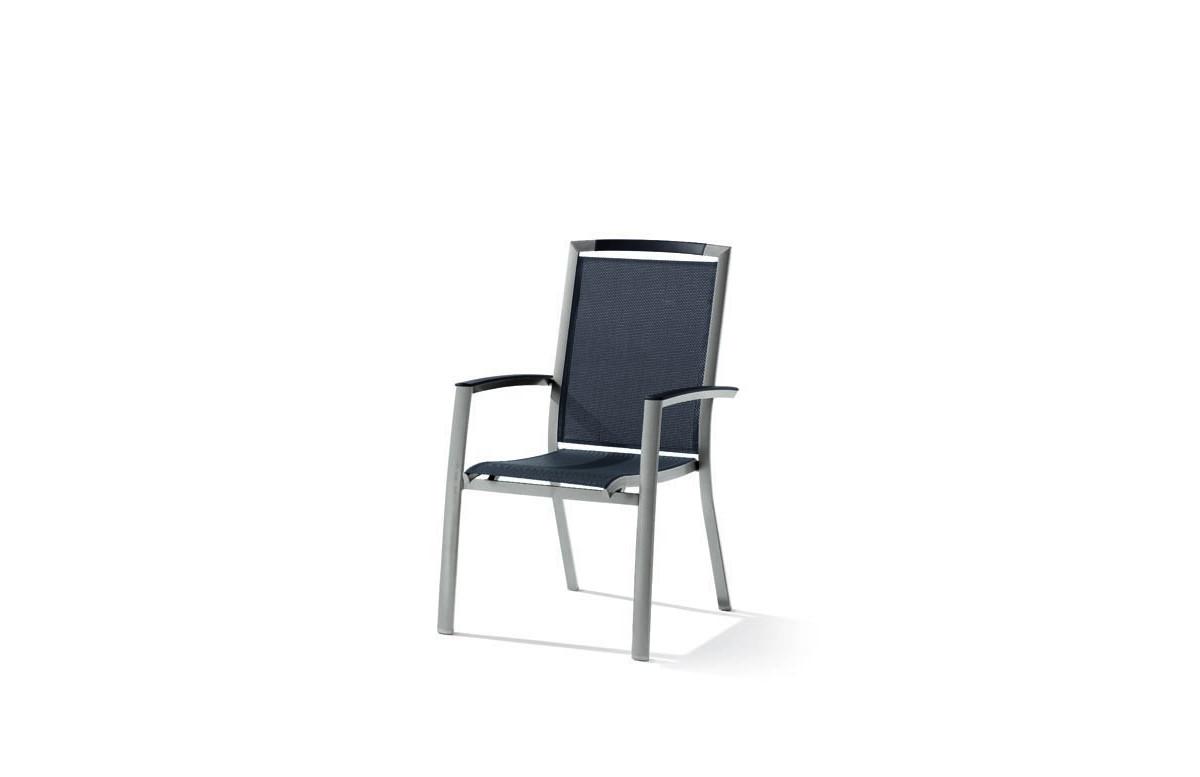 Fauteuil salon de jardin pliant aluminium/Textilux Trento - Sieger Exclusiv