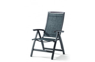 Grand fauteuil salon de jardin inclinable aluminium/Textilux Trento - Sieger Exclusiv
