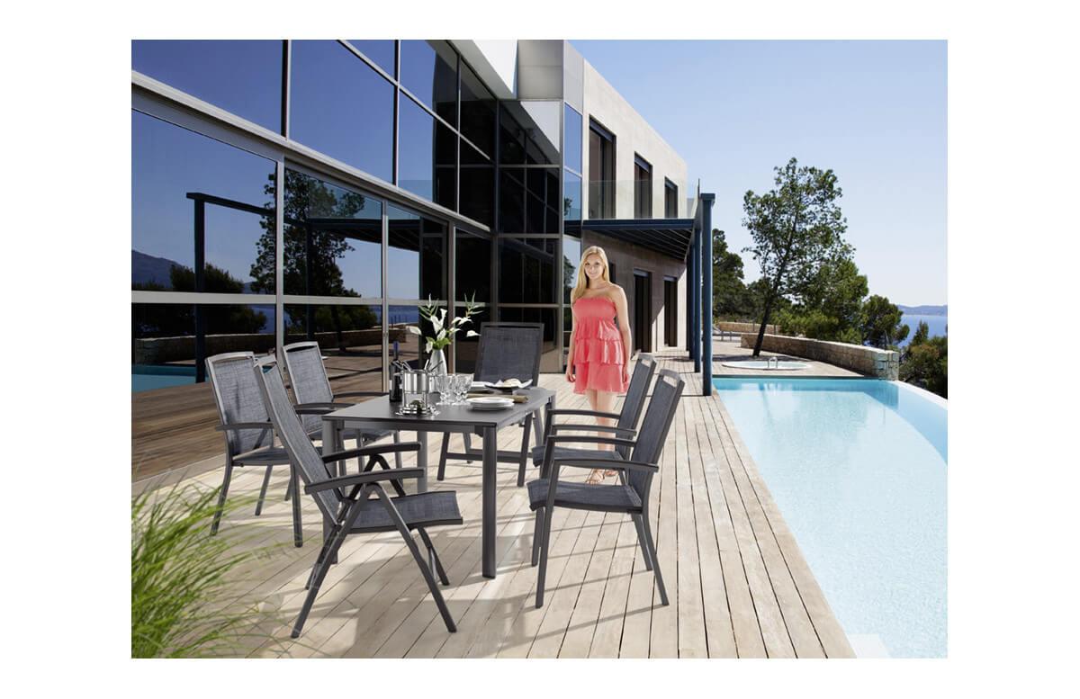 Ensemble table et fauteuils de jardin inclinable aluminium/Textilux 6 personnes Trento - Sieger Exclusiv