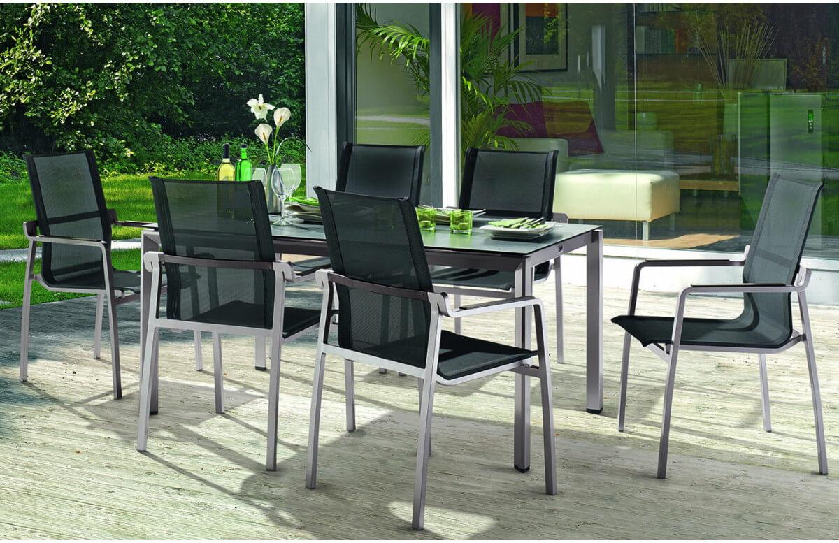 Ensemble table et fauteuils de jardin pliant aluminium/Textilux 6 personnes Yara - Sieger Exclusiv