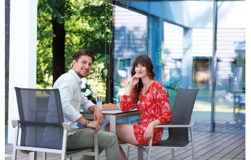 Ensemble table et fauteuils de jardin empilables aluminium/Textilux 2 personnes Yara - Sieger Exclusiv