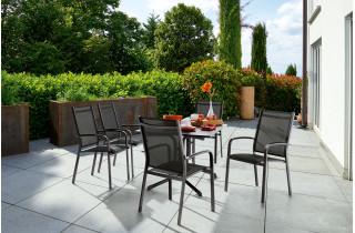 Ensemble table et fauteuils de jardin pliant aluminium/Textilux 6 personnes Meran - Sieger