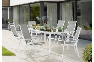 Ensemble table et fauteuils de jardin pliant aluminium/Textilux 6 personnes Calvi - Sieger Exclusiv