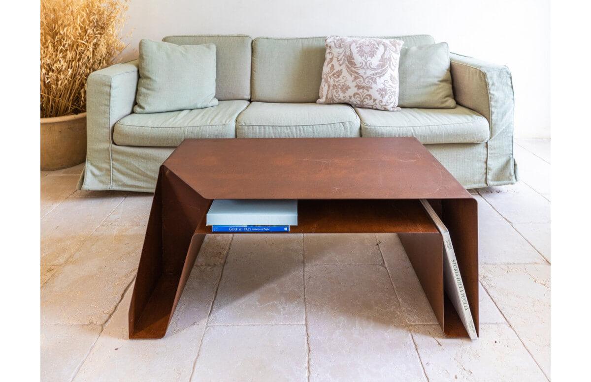 Table basse en corten bruni TAPE - TrackDesign par Umberto Colasanto