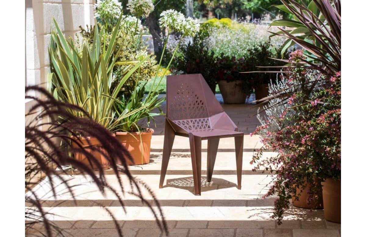 Chaise de jardin en corten bruni FOGLIA 001 - TrackDesign par Giuseppe Pio D'Altilia