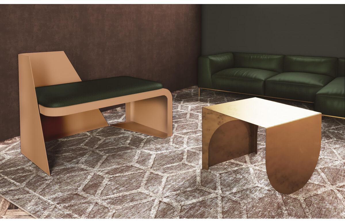 Fauteuil salon de jardin en corten bruni REA - TrackDesign par Vincenzo Minenna