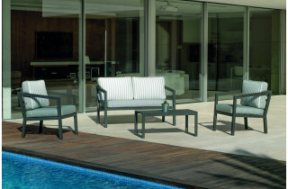 Salon de jardin bas 4 personnes en aluminium et Dralon - Acapulco - Hevea