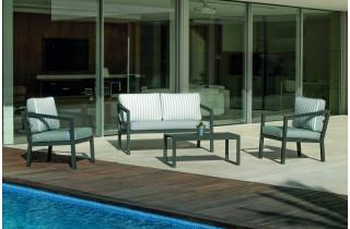 Salon de jardin bas 5 personnes en aluminium et Dralon - Acapulco - Hevea