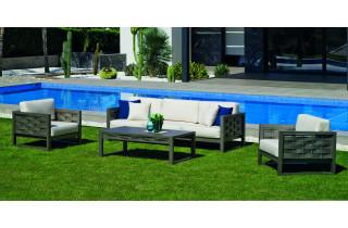 Salon de jardin bas 5 personnes en aluminium et Dralon - Augusta - Hevea