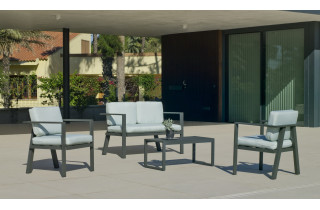 Salon de jardin bas 4 personnes en aluminium et Dralon - Azores - Hevea