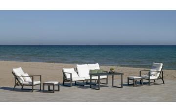 Salon de jardin bas multi-positions 7 personnes en aluminium et Dralon - Bolonia - anthracite - Hevea