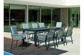 Ensemble table et fauteuils de jardin 8 personnes en aluminium et cordage - Camelia/catania - anthracite - Hevea