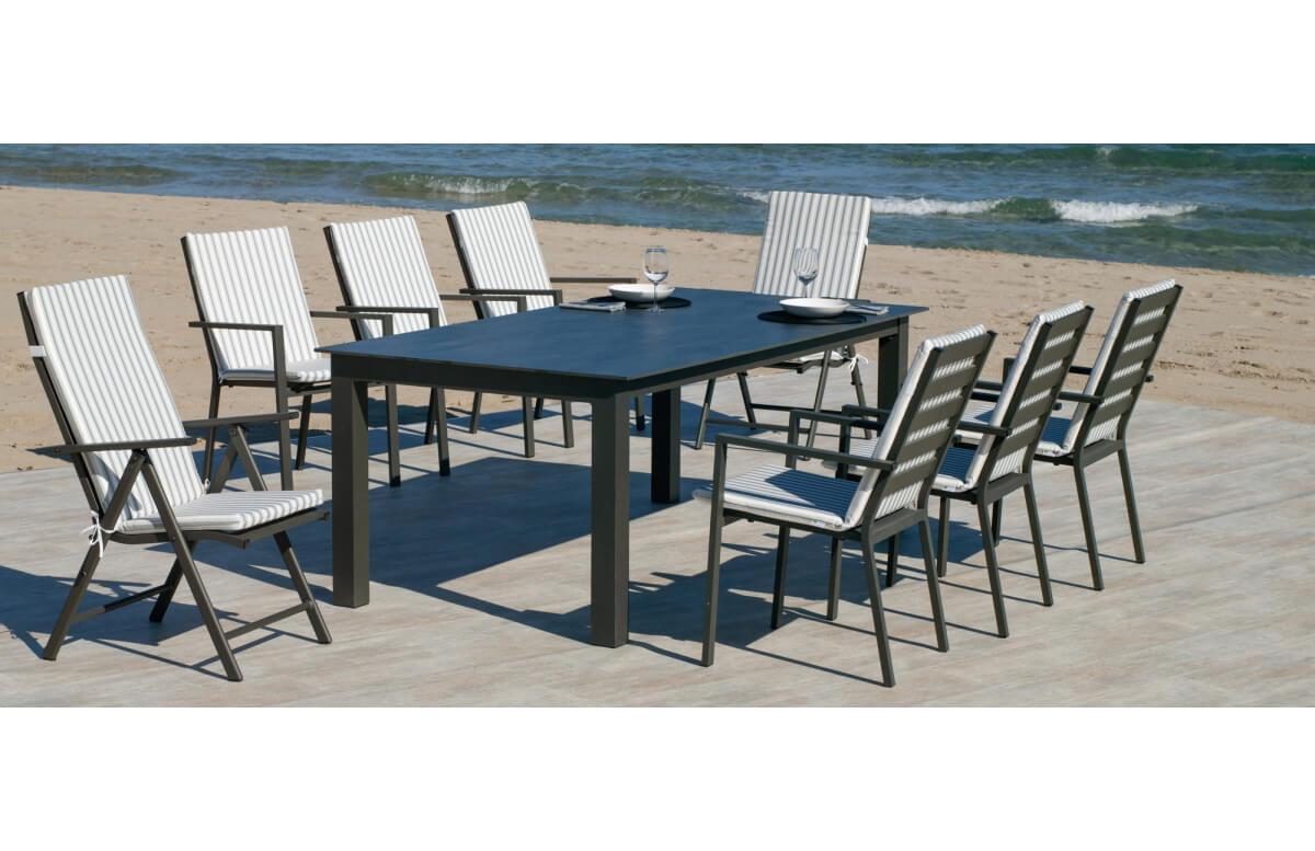 Ensemble table et fauteuils de jardin pliable 8 personnes en aluminium et HPL - Camelia/palma - anthracite - Hevea
