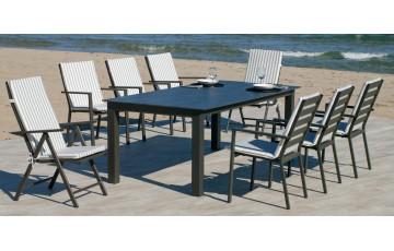Table salon de jardin 8 personnes en aluminium et HPL - Camelia - Hevea