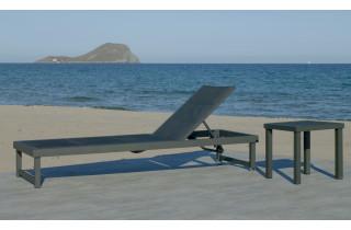 Bain de soleil multi-positions à roulettes en aluminium et textilène - Cancun - Hevea