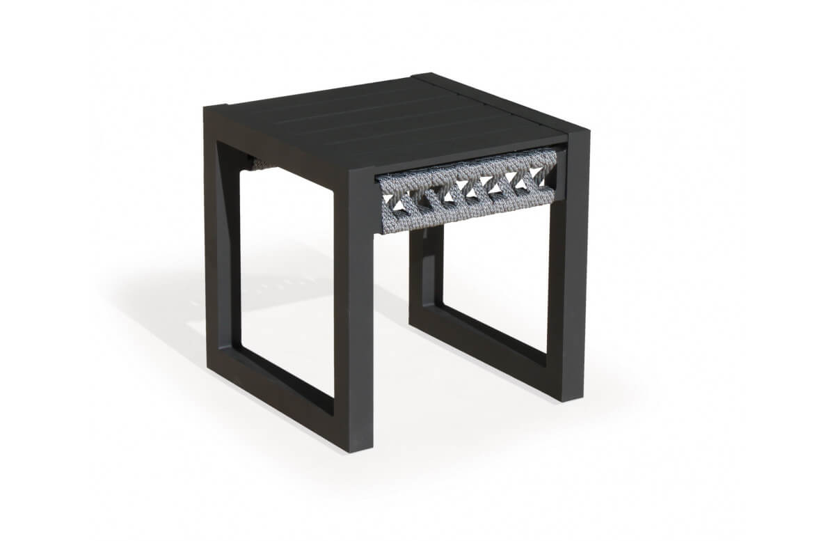 Table basse desserte en aluminium et cordage - Cayman - anthracite - Hevea