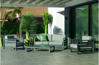 Salon de jardin bas 5 personnes en aluminium et Dralon - Cosmos - Hevea