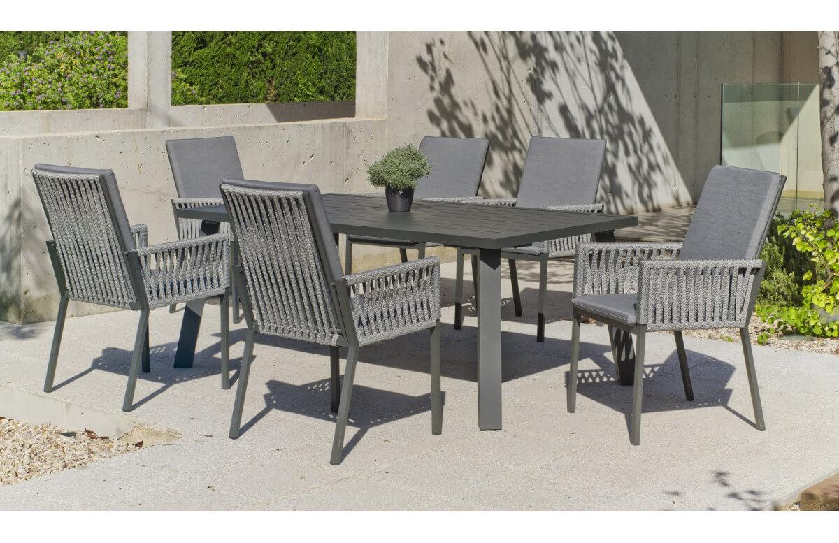 Ensemble table et fauteuils de jardin 6 personnes en aluminium et cordage - Dalas/catania - Hevea