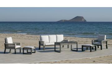 Salon de jardin bas 7 personnes en aluminium et cordage - Estambul - Hevea