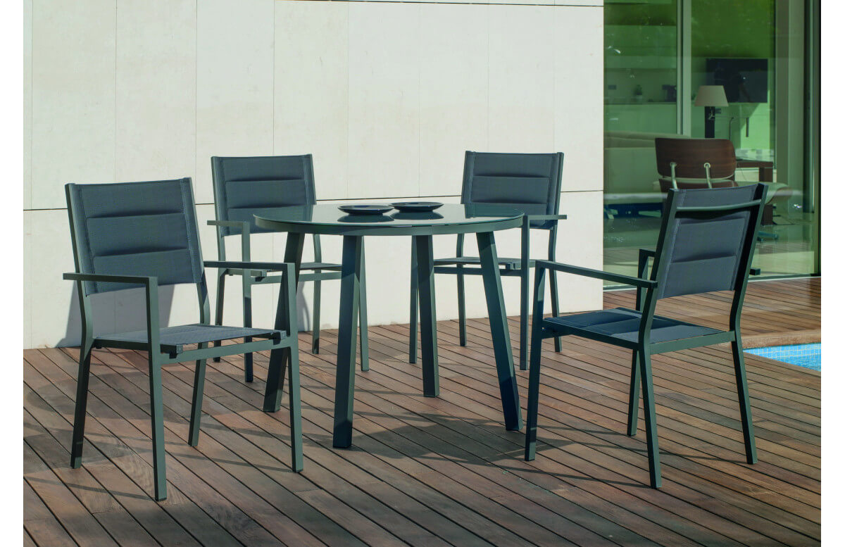 Fauteuil salon de jardin en aluminium et textilène - Milos - Hevea