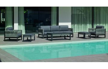 Salon de jardin bas 7 personnes en aluminium et cordage - Monterrey - Hevea