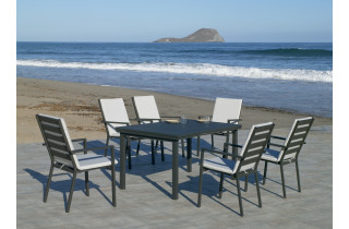 Table salon de jardin pliante 6 personnes en aluminium - Neferti - Hevea