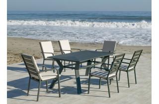 Ensemble table et fauteuils de jardin 6 personnes en aluminium et Dralon - Olimpia/caravel - anthracite - Hevea