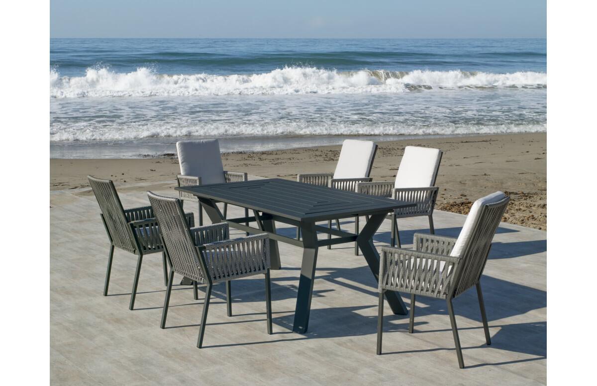 Ensemble table et fauteuils de jardin 6 personnes en aluminium et cordage - Olimpia/catania - anthracite - Hevea