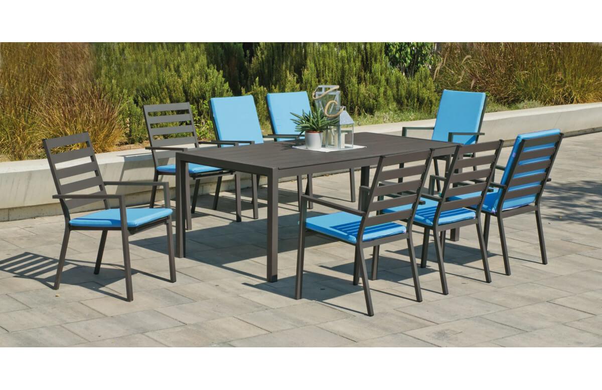 Ensemble table et fauteuils de jardin 8 personnes en aluminium et Dralon - Palma - Hevea