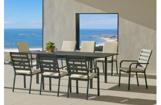 Ensemble table et fauteuils de jardin extensible 8 personnes en aluminium et Dralon - Palma - anthracite - Hevea